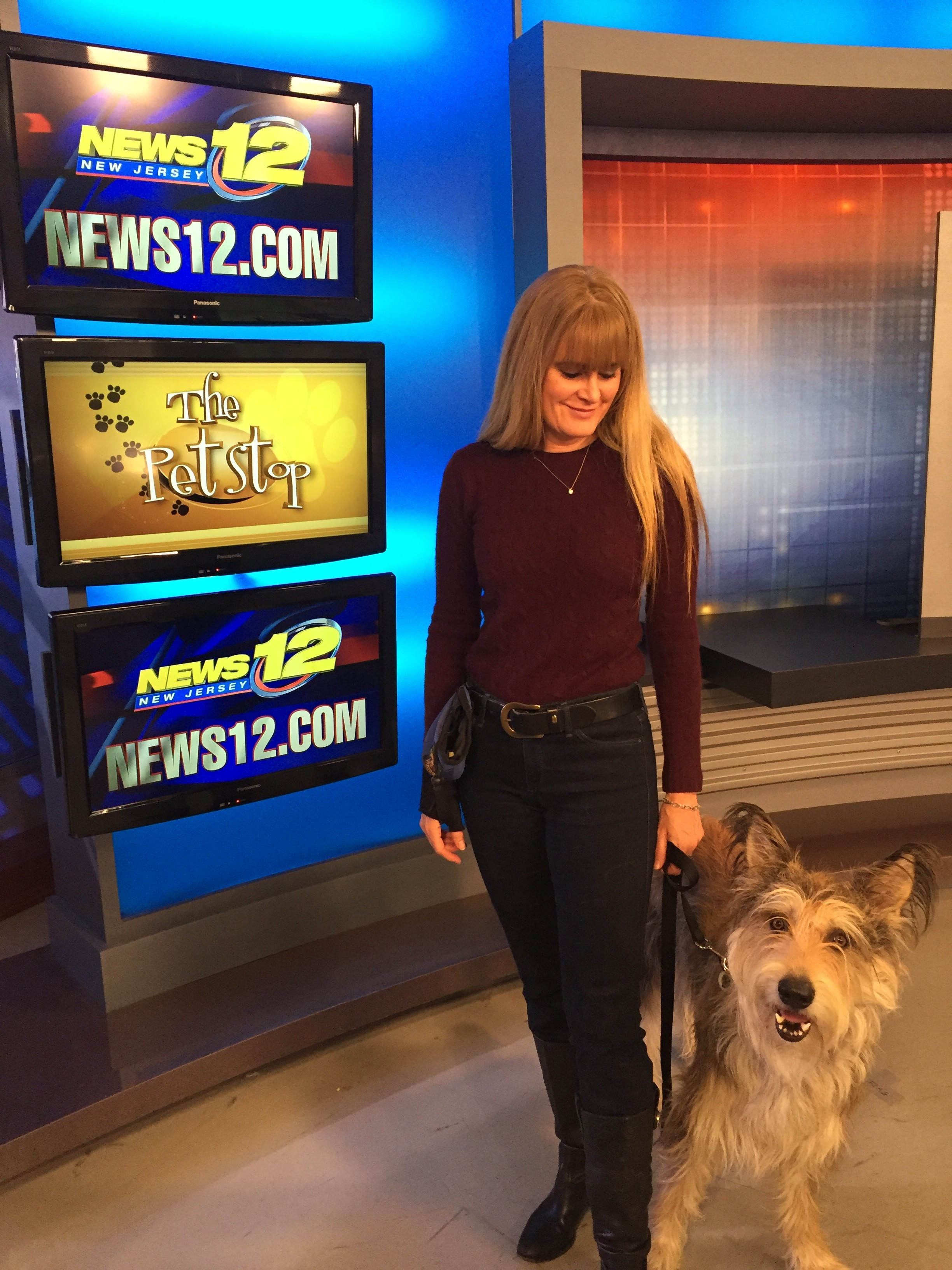 Christina Potter and Chester on News 12